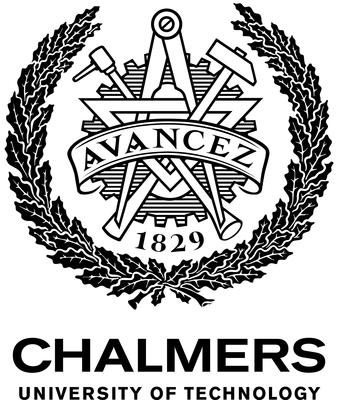 A semi circle of leaves surrounds the word Avancez 1829 and sits above the words Chalmers University of Technology