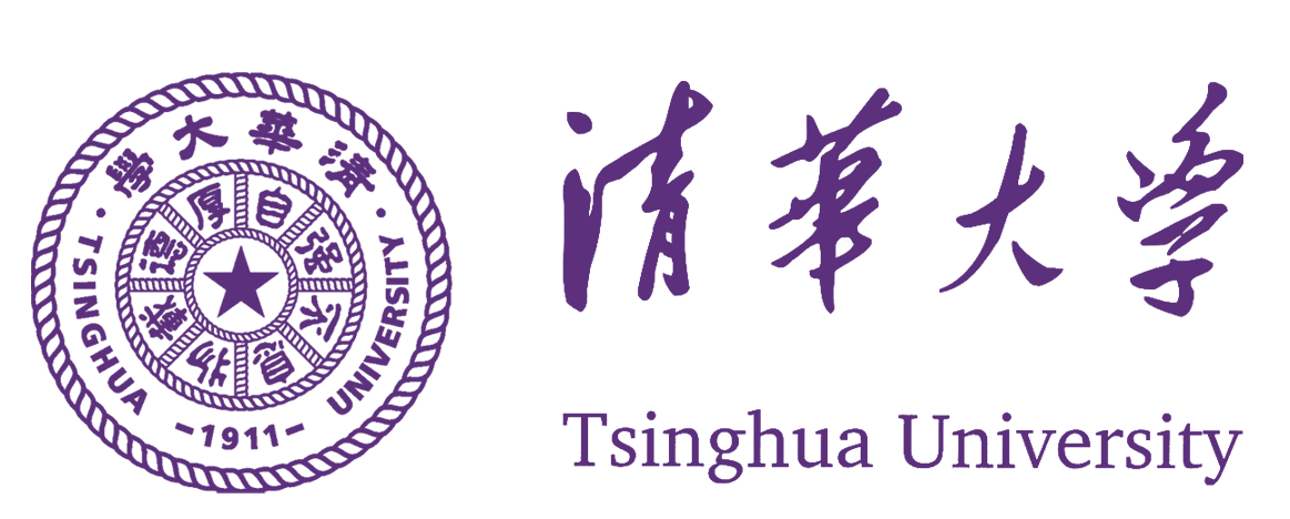 The purple seal of the Tsinghua University logo sits to the left of the university's name written in chinese letters