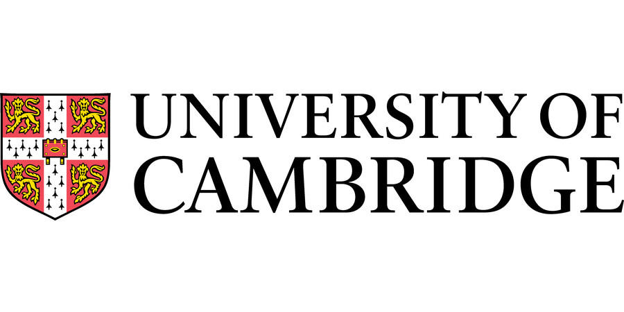 The orange and white crest of the University of Cambridge sits to the left of the text